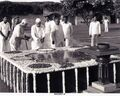 1979-08-15 1979-07-30 Prime Minister Ch. Charan Singh at Raj Ghat before proceeding to Red Fort - NA33267.jpg